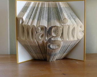 Best Selling items - Paper - Folded Book Art - Book Folding - Imagine  Your Choice of Words - Great Gift for Boyfriend Girlfriend - Graduate