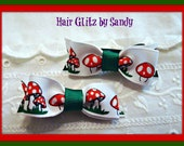 Green and White Bows - Bow Clips - Hair Bow Clip Set - Small Hair Bows - 2 Hair Clips - Mushroom Bow Clip Set - Boutique Hair Clip Set