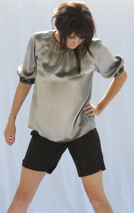 Jewel-Trimmed Silk Sheath Blouse in Silver-Grey charmeuse. Fashion SALE