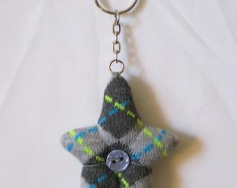 grey pattern starman sock keyring