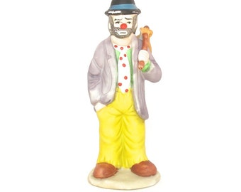 Emmett Kelly Clown, Emmett Kelly Jr., Signed Emmett Kelly, Hobo Clown, Clown Holding Stick, Flambro
