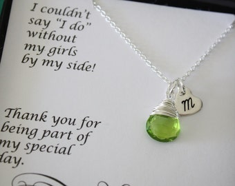 3 Personalized Bridesmaids Necklaces, Bridesmaids Gifts, Bridesmaid Thank Your Card, Initial Charm, Heart charm, Birthstone Necklace