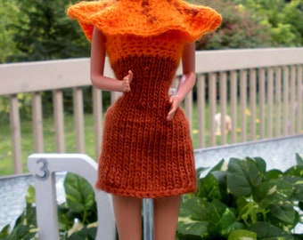 Doll Halloween Outfit in Orange & Rust  For Fashion Dolls
