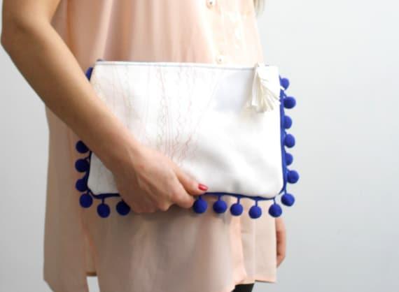 L O C C A  /White & Blue women leather clutch/ Make up Bag