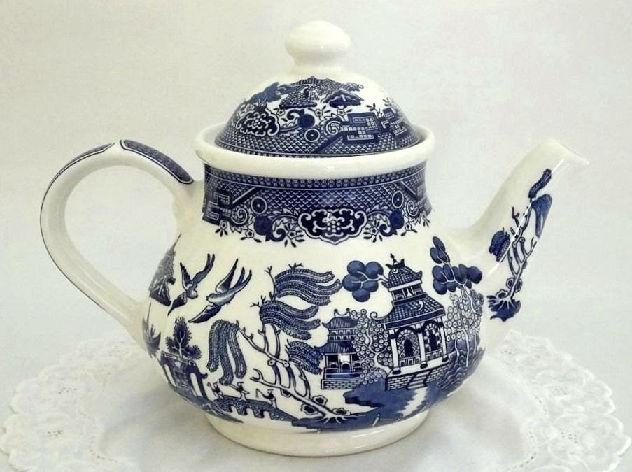 Vintage Blue Willow Teapot By Churchill Staffordshire