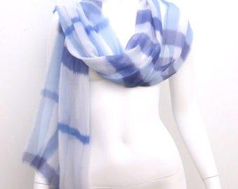 Silk Chiffon Fringed Wrap Scarf Indigo Blue White Check