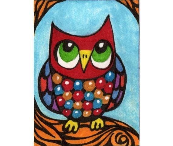 items similar to owl print funny owl art kids wall art art for children boys room decor girls room decor animal art little red owl by paula dileo on - Animal Painting For Kids