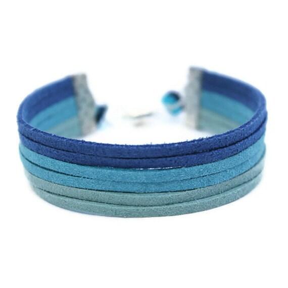 Ombre Suede Bracelet Wrap Bracelet Blue Multistrand Bracelet with Magnetic Clasp
