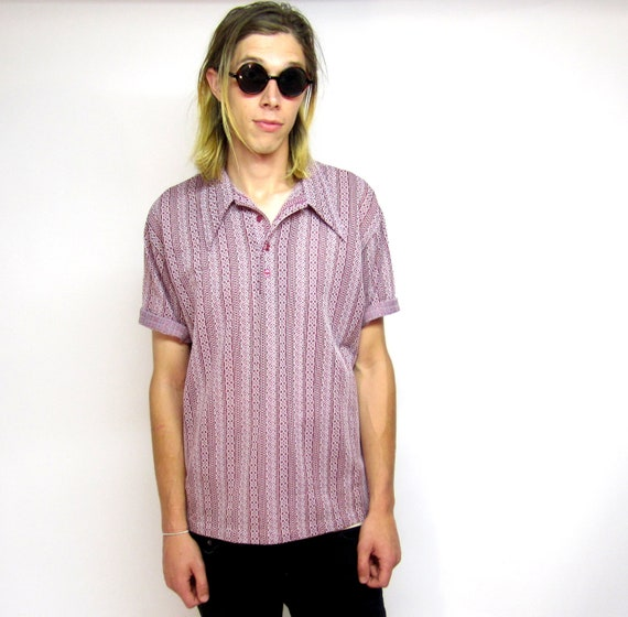 Mens 60s Vertical Pattern Shirt (M)