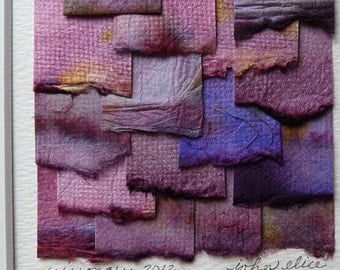 Handpainted Paper Collage Violet And Pink