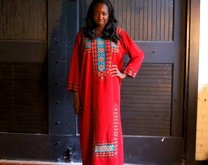 70s Red Embroidered Dashiki- Full Length Ethnic Tunic- Maroon Maxi Dress- Rayon or Silk Crepe