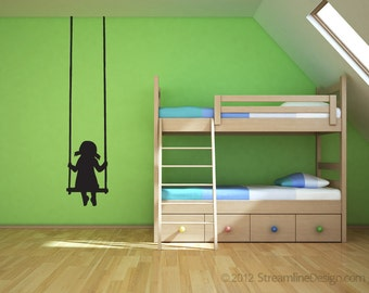 Girl on Swing Removeable Vinyl Wall Art, playroom girls room daycare kids playing girl swinging swing wall decal playtime little girl