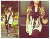 Handmade Long Bulky Crocheted Cowl With Fringe, Infinity Scarf  Fringed, Cozy Warm,Scarf, Neck Warmer, Large Scarf,