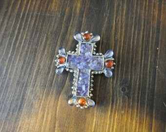 Pewter Cross Pendant or Pin with Amethyst and Natural Stones