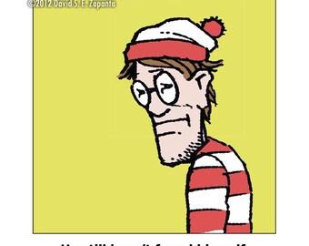 Melancholy Greetings - Funny Waldo greeting card (blank inside)