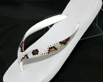 Custom Crystal Flip Flops Jungle Leopard print Havaianas flat or Cariris Wedge heels w/ Swarovski Rhinestone jewels Cheetah Thong Beach Shoe