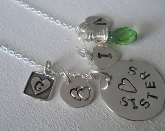 Sisters necklace in sterling silver, Hand stamped by Me. Big sister, little sis, or big brother or little brother , BFF and Soul Sister