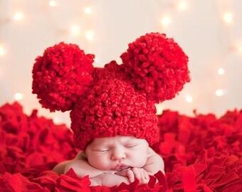 Red Baby Hat Newborn Baby Girl Hat Newborn Baby Boy Hat Crochet Pom Pom Baby Hat Animal Ear Hat Cherry Red Christmas Photo Prop Newborn
