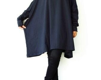 NO.62 Midnight Blue  Cotton Jersey Oversized T-Shirt Tunic Sweater, Women's Top