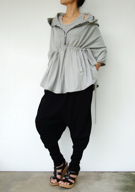 NO.75 Light Grey Cotton-Blend Jersey Zip Front Hoodie Poncho, Women's Sweater