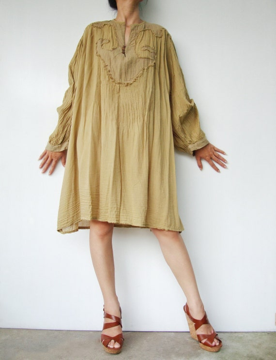 NO.46  Dirty Dijon Mustard Cotton Oversized Tunic