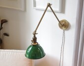 Articulating Industrial Wall Lamp - Brass Scissor Lamp with Gas Station Porcelain Enamel Shade