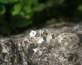 Little Dotty sterling silver stud post earrings, square stud with a flattened dot of silver. Handmade in UK