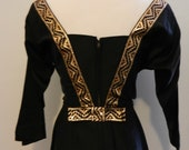 1950s black and gold brocade party dress