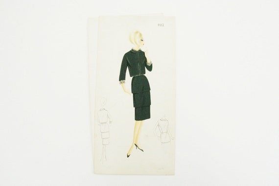 Original fashion sketch, italian vintage Illustration 1960s black cocktail dress