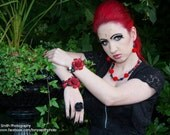 Rosa Trio Necklace with Silver cross charms, day of dead, goth piece.