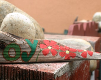 JOY Driftwood with red flowers (Made to Order) Driftwood Art, Painting