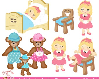 Goldilocks and the Three Bears Clip Art Set