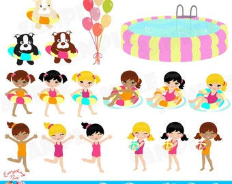 Pool Party Clip Art Set