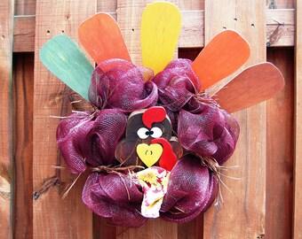 Fall Mesh Turkey Wreath
