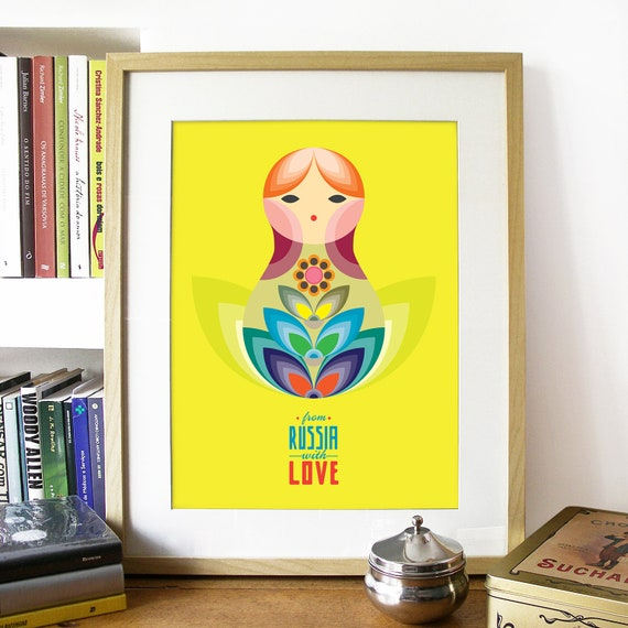 MATRIOSKA doll Illustration Poster from Russia with LOVE mid century style illustration Russia poster print matrioska poster colorful doll