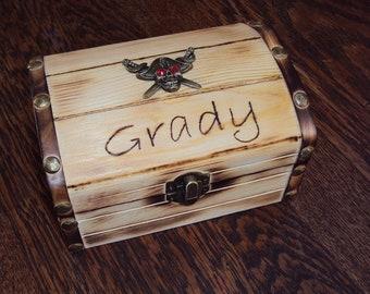 Personalized pirate wood burned treasure chest, small keepsake box