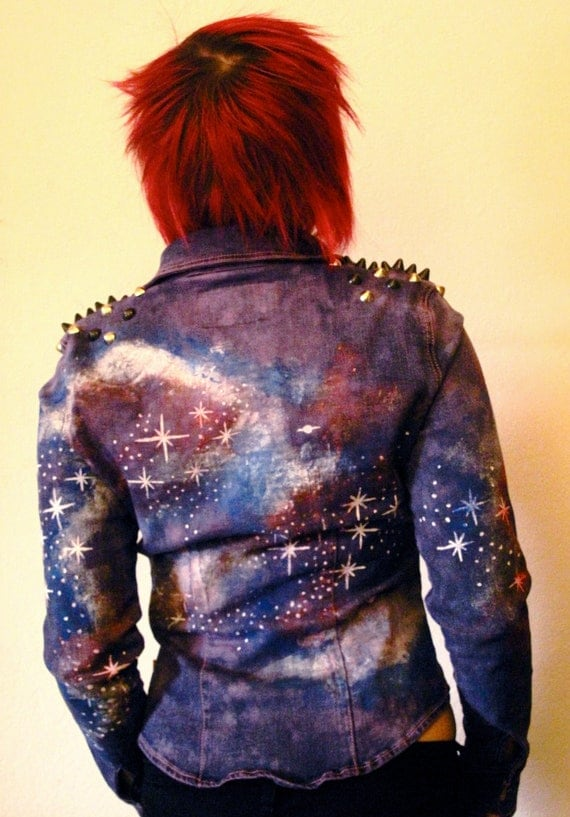 Hand Painted Galaxy Jacket Studded Denim Jacket Bleached