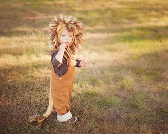 Lion Costume,  Baby Lion Costume, Lion Hat and Tail, Toddler Lion Costume,  Baby Boy Halloween Costume, Newborn Photo Prop,
