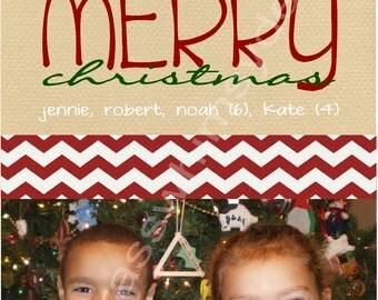 Christmas Photo Card- Red Chevron
