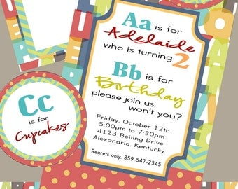 Alphabet Birthday Party Pack- invites, thank you's, goodie bag labels, water bottle labels, cupcake toppers