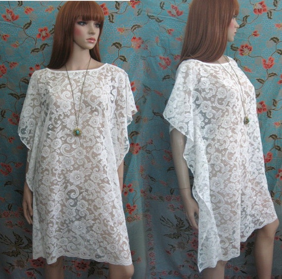 BOHO HIPPIE 70s sheer floral lace oversized dress caftan wedding S M