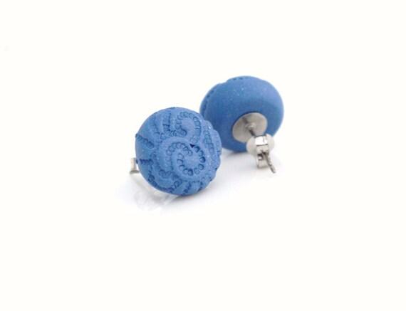dark blue polymer clay button studs 'Anita' - hypoallergenic nickel free posts