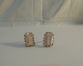 Vintage Pink with Gold Fleck Clip Earrings