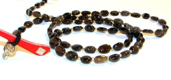 Smokey Quartz Black Beaded Eyeglass Chain Necklace Office Id Badge Eyeglasses Holder Keys Name Tag Necklace Teachers and Nurses