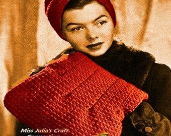 A BEST Vintage 1940s Stylish Beaux Turban & Muff Bag 294 PDF Digital Crochet Pattern