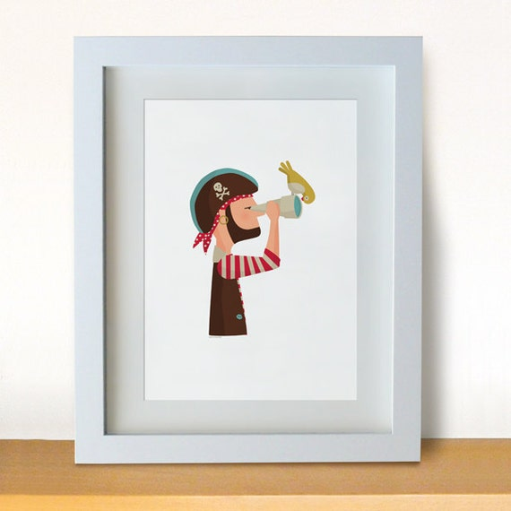 Illustration. Pirate and his bird. Print. Wall art.