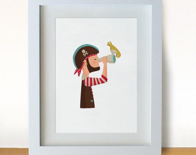 """Ilustración """"Pirata y su pájaro""""."""