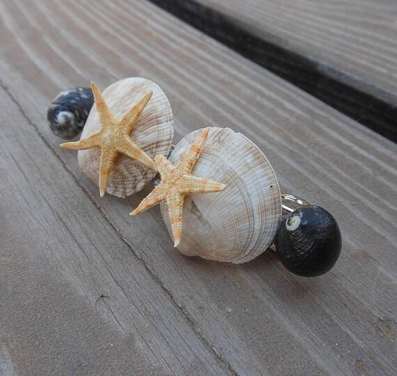 Starfish Hair Barrette - Handmade Seashell Hair Accessory - Natural Seashells - Scallop Seashells - Moon Shells - Starfish Hair Accessory