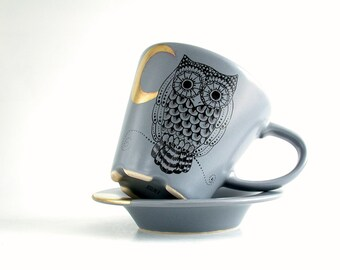 owl golden moon grey tea/coffee cup and saucer , hand painted goth owl