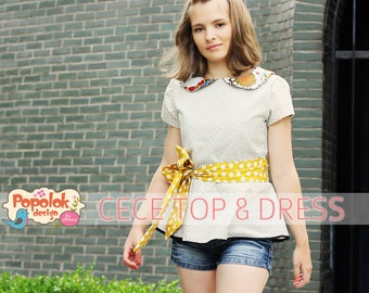 CECE Top & Dress PDF Pattern by Popolok Design - Tween Teen Girl Age 9 to 16